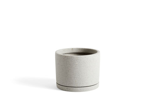 Plant pot with saucer, L, Harmaa