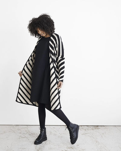 Knit stripe -neuletakki,  Black/white sand