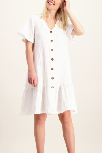 Frill Button Dress, Valkoinen